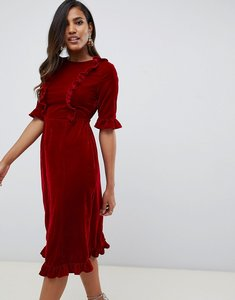 Read more about Asos design velvet midi dress with ruffles