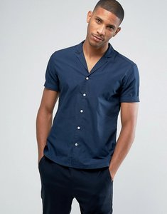 Read more about Esprit short sleeve shirt in slim fit with cuban collar - navy 400