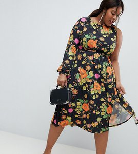 Read more about Asos design curve one shoulder balloon sleeve midi dress in floral print - multi