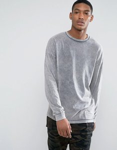 Read more about Asos oversized t-shirt in grey acid wash with bellow sleeve - grey