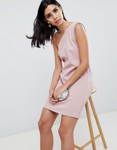 Read more about Asos scuba one shoulder zip side mini shift dress - mink