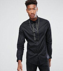 Read more about Asos tall skinny sateen shirt with embellished detail - black