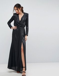 Read more about Asos metallic twist front maxi dress with shoulder pads - metallic black