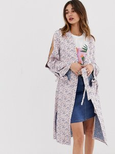 Read more about Lost ink kimono jacket with split sleeves in jacquard - pink multi
