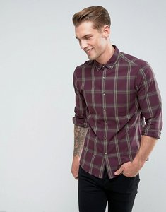 Read more about Asos stretch slim check shirt in burgundy - burgundy