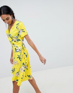 Read more about B young printed wrap dress - yellow