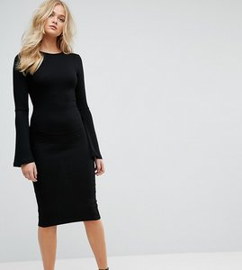 Read more about Asos tall midi bodycon dress with fluted sleeves - black
