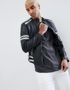 Read more about Goosecraft manchester leather biker jacket in black and white - black