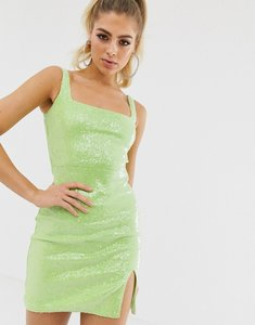 Read more about Club l london sequin square neck mini dress in neon lime