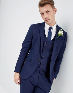 Read more about Asos wedding skinny suit jacket in french navy micro texture - navy