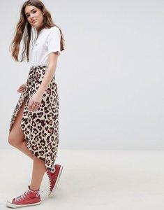 Read more about Asos design leopard print wrap midi skirt - stone black orange