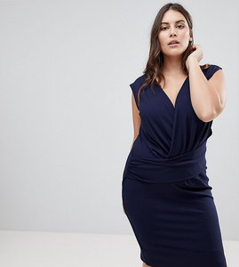 Read more about Lipsy curve plunge front bodycon mini dress - navy