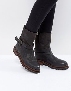 Read more about H by hudson flat leather boots - black