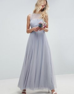 Read more about Asos design bridesmaid maxi prom dress with pearl trim - blue