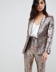 Read more about Asos design blazer in golden jacquard - multi