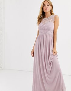 Read more about Lipsy ruched maxi dress with lace yolk and embellished neck in lavender