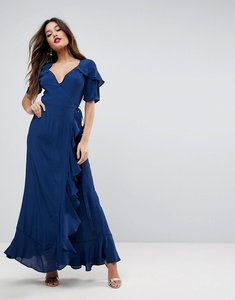 Read more about Asos short sleeve ruffle wrap maxi dress - navy