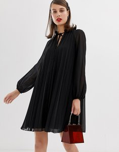 Read more about Asos design pleated trapeze mini dress with tie neck