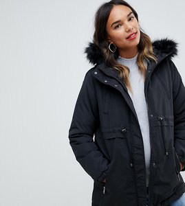 Read more about Mamalicious fur trim hood parka coat - black