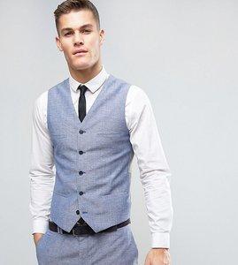 Read more about Noak slim wedding suit waistcoat in linen nepp - blue