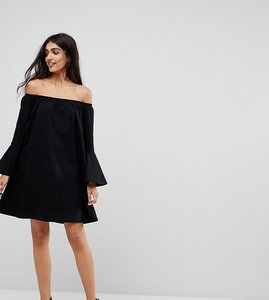 Read more about Asos tall off shoulder mini dress with trumpet sleeve - black