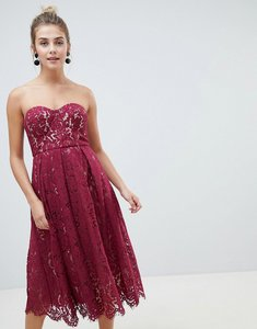 Read more about New look lace bandeau midi dress - dark burgundy