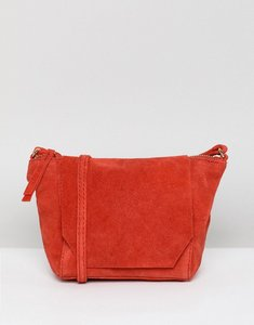 Read more about Asos design suede angled flap cross body bag - red
