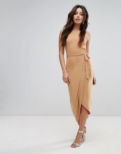 Read more about Club l high neck wrap front slinky midi dress - camel
