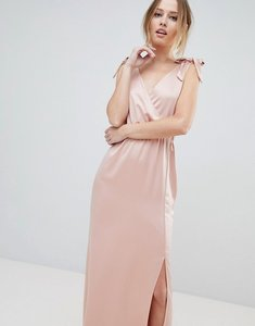 Read more about Silver bloom tie shoulder plunge maxi dress - pink