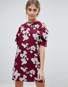 Read more about Daisy street floral shift dress with cold shoulder - wine