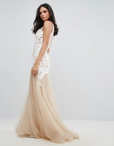 Read more about Forever unique applique maxi dress with sheer bottom - white