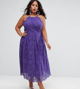 Read more about Asos curve lace pinny scallop edge prom midi dress - purple