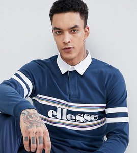 Read more about Ellesse long sleeve polo shirt with logo panel in navy - navy