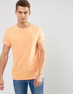 Read more about Asos t-shirt with crew neck and roll sleeve in orange - mimosa
