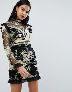 Read more about Prettylittlething premium floral high neck embellished mini dress - black