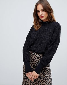Read more about Y a s glitter knitted high neck jumper - black