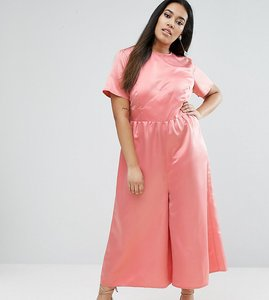 Read more about Asos curve occasion tea jumpsuit in pink satin - pink