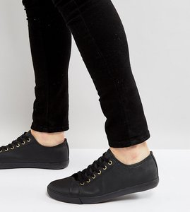 Read more about Asos wide fit lace up plimsolls in black - black