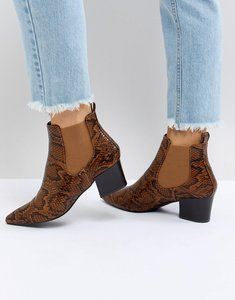 Read more about Raid wendy faux snake heeled ankle boots - tan