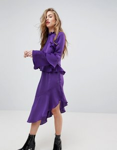 Read more about Miss selfridge asymetric ruffle dress - purple