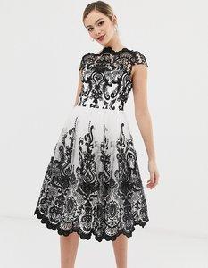 Read more about Chi chi london premium lace midi prom dress with bardot neck in mono