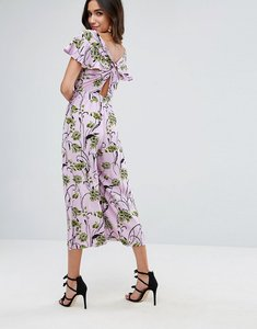 Read more about Asos jumpsuit with twist back and frill detail in floral print - pink floral