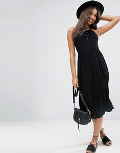 Read more about Asos midi smock dress with popper details - black