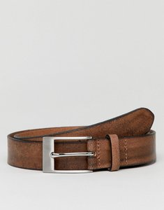 Read more about Asos smart slim leather belt in vintage brown finish and burnished edges - brown