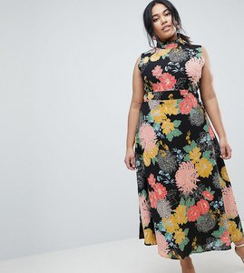 Read more about Uttam boutique plus flower print neck dress - black