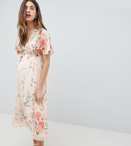Read more about Queen bee fluted sleeve maxi dress in floral print - multi
