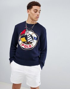 Read more about Polo ralph lauren cp-93 capsule sailing logo cotton knit jumper in navy - bright navy