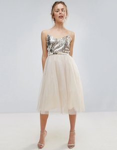 Read more about Little mistress heavily embellished prom dress - cream