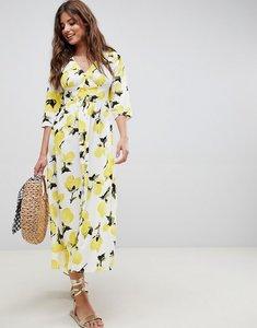 Read more about Asos design button through maxi dress in lemon print - multi