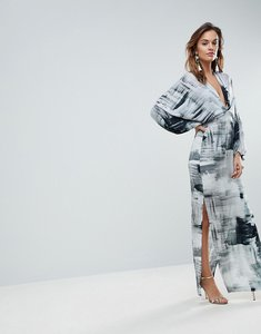 Read more about Asos balloon sleeve maxi dress in print - multi
